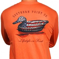 SPC Signature Long Sleeve Flag Decoy Tee in Red Orange by Southern Point Co.