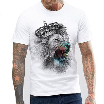 Newest Fashion The King Lion Printed T-Shirt Men's Summer Cool Design Tops Funny Custom Hipster Tees