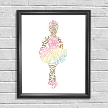 Ballerina Word Art  Wall Decor Word Cloud Girl's Room Decor  Ballerina Wall Art Print Dance Print Gift for little girl Nursery Ballerina