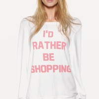RATHER BE SHOPPING BAGGY BEACH JUMPER at Wildfox Couture in  -CLEAN WHITE, CHER