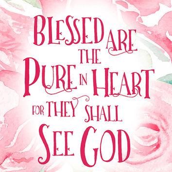 Blessed are the Pure In Heart Print Digital Download (4 VERSIONS INCLUDED!), scripture art, bible verse design, Matthew 5, christian art