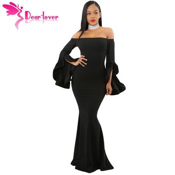 Dear Lover Sexy Party Gown Elegant 2018 Autumn Black Off Shoulder Pleated Bell Sleeves Maxi Dress vestido de festa longo LC61981