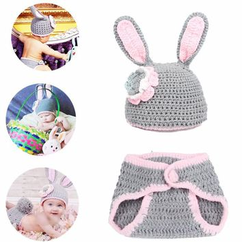Newborn Baby Hand-Knitted Crochet Bunny Cap and Diaper Cover