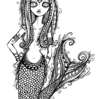 Merlady pen and ink drawing art print