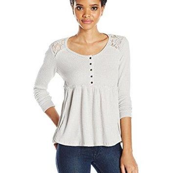 Taylor and Sage Womens Thermal Waffle Applique Henley Top