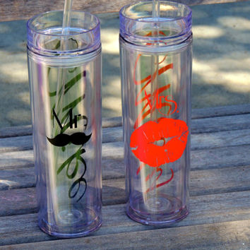Mr. and Mrs. Tumblers, bride and groom cups,skinny tumbler, bachelorette party cups, wedding gift, personalized tumbler, acrylic cup