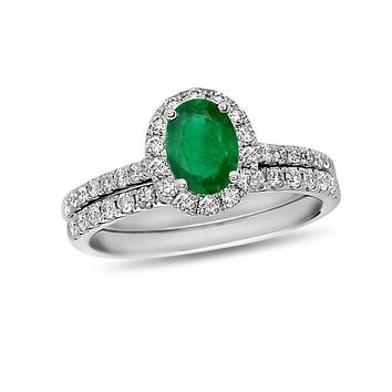 Oval Emerald and 5/8 CT. T.W. Diamond Frame Bridal Engagement Ring Set in 14K White Gold