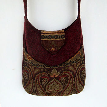 PaisleyTapestry Gypsy Bag Messenger Bag Bohemian Burgundy Chenille large bag renaissance bag messenger bag medieval bag