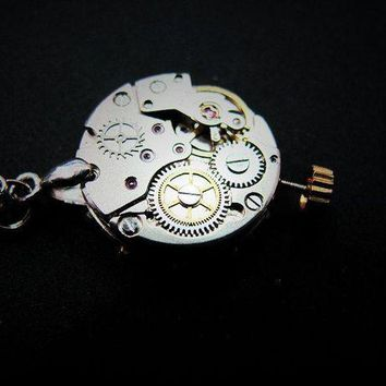 PEAPON Free Shipping Steampunk Watch movement Necklace Costume Jewelry Pendant Moving Gears Watch Movement Pendant