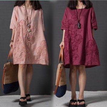 Vestido 2017 Summer Chinese Style Women Dress O Neck Loose  Embroidered Linen Dress Elegant Short Sleeve Casual Dresses