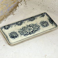 French antique transferware soap dish. blue transferware. teal soap dish. French vintage soap dish. shabby chic. cottage chic. country home