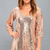 Moment to Shine Rose Gold Sequin Shift Dress