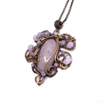 Leaf necklace Rose quartz necklace Pink necklace Elven pendant Wire copper necklace Gift for her Boho jewelry Wire wrapped Crystal necklace