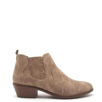 Favored Distress Point Toe Ankle Booties In Taupe