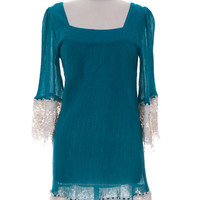 Lace & Gauze Dress (Plus Size)