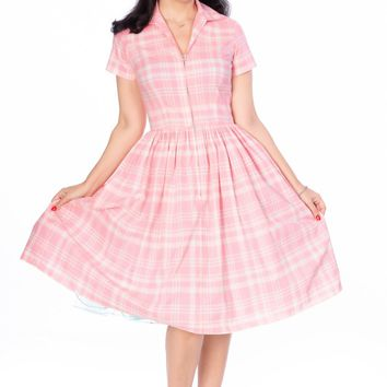 Francis Dress in Pink and White Plaid
