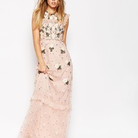 Needle & Thread Floral Frill Embellished Maxi Dress at asos.com