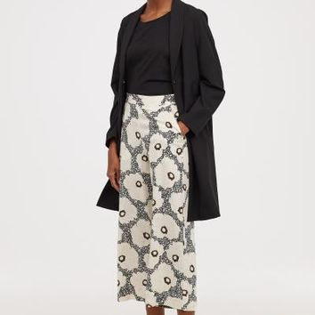 Cropped Pants - Black/floral - Ladies | H&M US