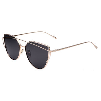 Golden Double High Bar Detail Tinted Cat Eye Sunglasses