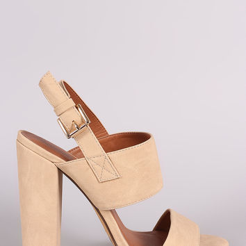 Double Band Open Toe Slingback Chunky Heel