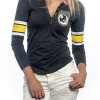 Pittsburgh Steelers Womens Vintage Raglan Top | SportyThreads.com