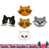 Jesse James Buttons 6 Fuzzy Felines Cats / Turn them Into Flatback Cabochons