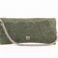 """Green Leather """"Fold-over"""" Clutch with Silver Chain"""