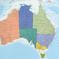 Political Map of Australia and Tasmania Poster 24x36