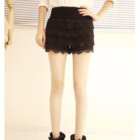 S M L XL Black Beige Womens Pants Skirts Dress Lace Shorts Cute Crochet Tiered J