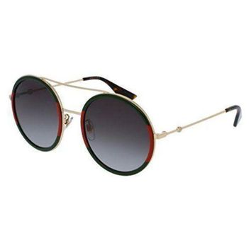 Gucci Womens Round Sunglasses Gold/green Os