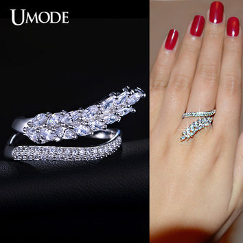 UMODE Original Design Selene Series Special Flowing Wheat With Marquise Cut CZ Irregular Band Finger Rings Brand Jewelry UR0159