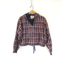 90s Vintage plaid jacket. cropped parka jacket. Slouchy blue, red and white shirt jacket with hood. light weight preppy Jacket