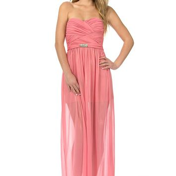 Teeze Me | Strapless Ruched Bodice Sheer Knit With Foil Long Dress | Guava