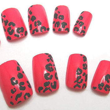 Press On Nails Leopard Print Red Animal Print by NailKandy on Etsy