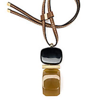 Marni - Resin, Horn & Leather Colorblock Long Pendant Necklace - Saks Fifth Avenue Mobile