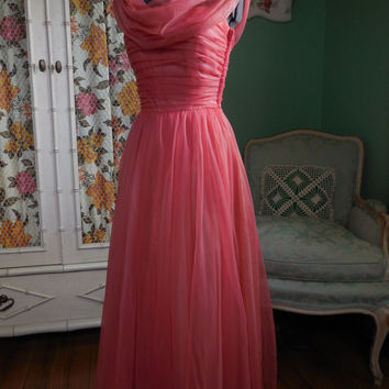 1950's Coral Pink Chiffon Dress /  Front and Back Cowl with Train / Sheer Nylon Over Taffeta and Netting / Elegant Prom Party Dress