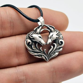 1pc Viking Wolf Fox Pendant Animal Amulet Necklaces Antique Silver Necklaces Punk Style Handmade Jewelry