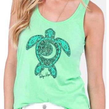 Southern Attitude Preppy Tortuga Moon Turtle New Moon Tank Top