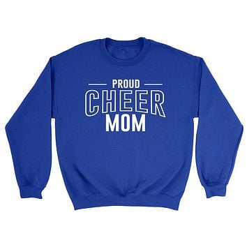 Proud cheer mom team squad game day sport mom love cheerleading Mother's day Crewneck Sweatshirt