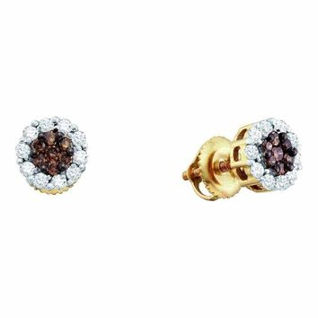14kt Yellow Gold Women's Round Cognac-brown Color Enhanced Diamond Flower Cluster Screwback Earrings 1-2 Cttw - FREE Shipping (USA/CAN)