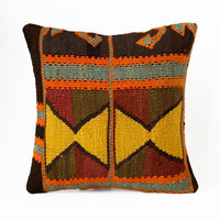 Engin / Hand Woven Kilim Pillow Cover - Vintage Turkish - Accent Pillow - Decorative Pillows - Pillow Cover - Pillow cases 16/16
