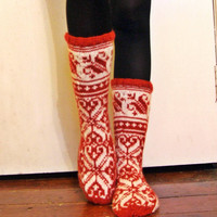 Hand-knitted Red White Wool Socks Scandinavian Fairisle Floral Christmas