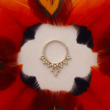 Loukya. Argentium Sterling Silver septum ring, nose ring, belly button ring. Tribal Goddess Adornment.