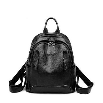 Student Backpack Children Student backpack fashion lightweight women's backpack women 2018 new large capacity casual soft leather backpack  shipping AT_49_3