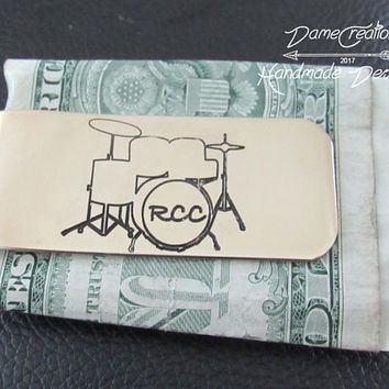 Drummer, Money Clips for Men, Brother Gift, Birthday Gift for Boyfriend, Husband Gift, Gift for Him, Brass Money Clip, Minimalist Wallet
