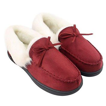 HomeIdeas Womens Faux Fur Lined Suede House Slippers Breathable Indoor Outdoor Moccasins
