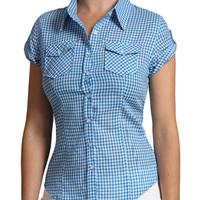 LE3NO Womens Lightweight Fitted Short Sleeve Checkered Shirt