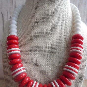 "8"" Handmade Red and White Large Beaded Necklace"