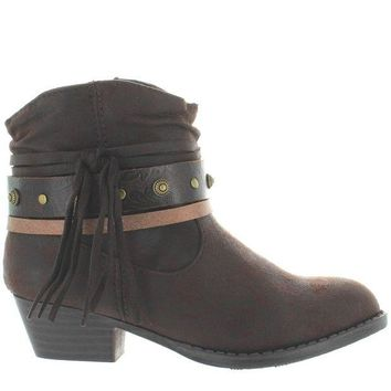 ONETOW MIA Kids Cowgirl - Girl's Brown Side Fringe Hardware Embellished Short Western Bootie