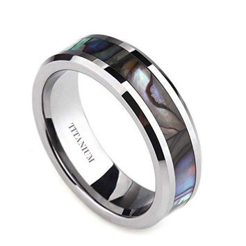 6mm Titanium Ring Abalone Shell Inlay Comfort Fit Beveled Edge | FREE ENGRAVING